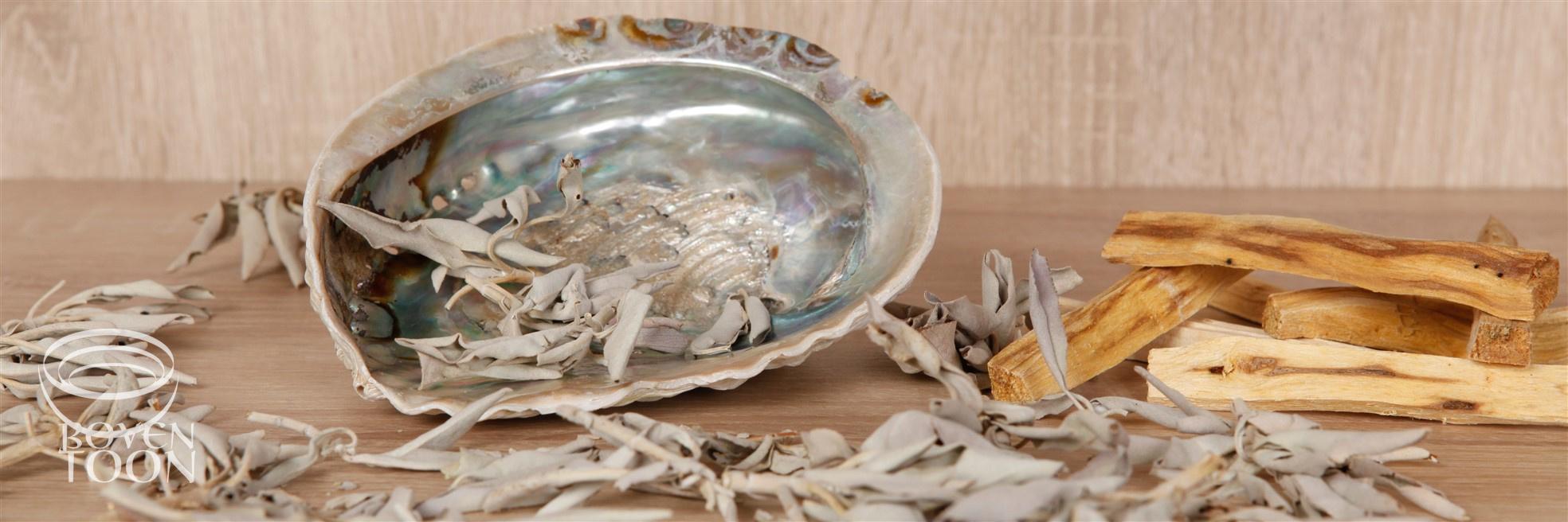 Witte salie, palo santo, abaloneschelp Boventoon